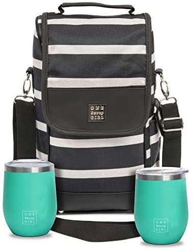 Tote Bag with Stainless Steel Stemless Wine Glasses