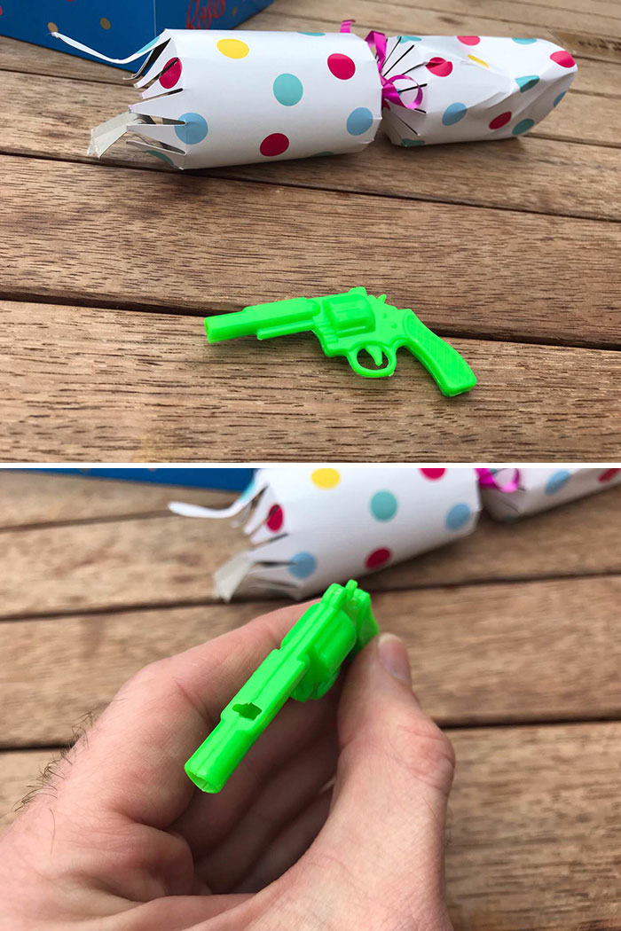 19. The Cracker I Got At My Work's Christmas Lunch Was A Gun-Shaped Whistle. To Blow It, You Have To Put The Barrel In Your Mouth