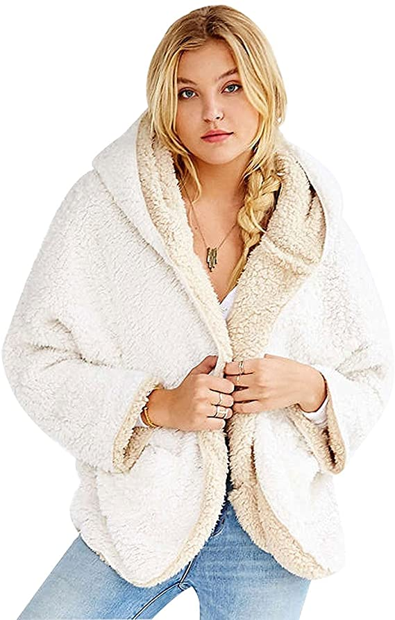 Faux Fur Winter Hooded Cardigan Coat