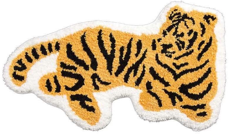 Tiger Shaped Animals Bath Mat Area
